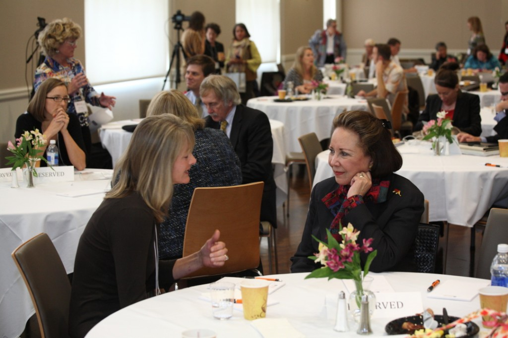 Deb Zehner chats with Alma Powell after the keynote.
